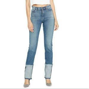 Holly Reverse Hem High Waist Straight Leg Jeans